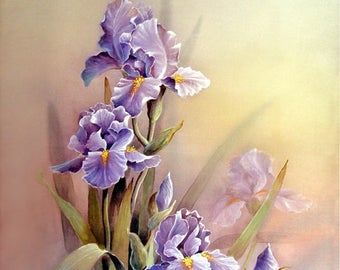 Purple Iris - Flowers Art Print of Original Water Color Painting - Iris, Floral