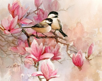 Chickadees , Magnolia -  Art Print of Watercolor Painting