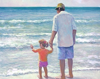 Father and Daughter on the Beach Art Print - Ocean, Waves, Nature, Dog
