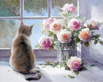 Cat- Roses  - Art Print of Watercolor Painting - Gift for Cat Lovers
