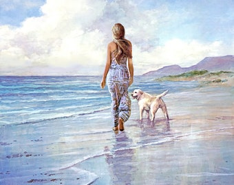 A Girl and her Dog - Girl, Friend, Beach, Nature