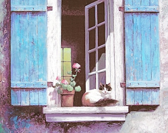 Cat Sunny Day Art Print of Watercolor Painting - Gift for Cat Lovers