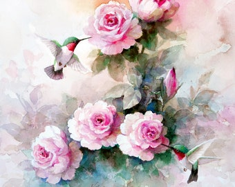 Humming Birds and  Roses  Archival Print of Watercolor Painting