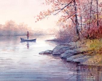 Fishing Art Print of Watercolor Painting  - lake, trees, nature lovers gift