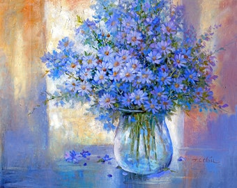 Blue Flowers - Art Print of Oil Painting - Flower, Nature, Peaceful Gift