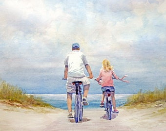 Father and Daughter bicycling on the beach Art print of watercolor painting - Trees, Park