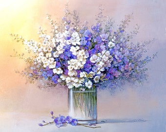 Violet and White Flowers -in a vase - Art Print of Oil Painting - Flower, Nature, Peaceful Gift, gift to ladies