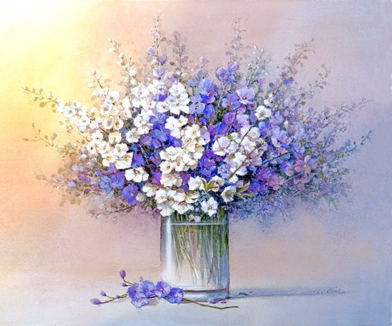 Violet and White Flowers in a vase Art Print of Oil   Etsy