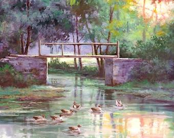 Spring Scene Art Print of Watercolor Painting - Trees, ducks, Nature, Lake, Peaceful Gift