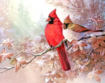 Cardinals- Art Print of Watercolor Painting  -  Birds, Gift for Ladies, Wedding Gift, Anniversary