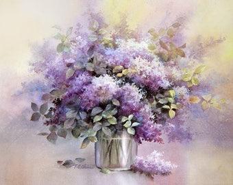 Lilac Flowers Art Print of Original Water Color Painting - Lilacs Floral Arrangement