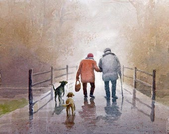Walk In The Park Art print of watercolor painting - Old Couple - dogs, Trees, Park, Bench
