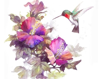 Humming Birds and  Flowers  Archival Print of Watercolor Painting