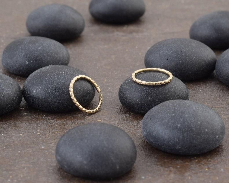 Minimalist Gold Hammered Nose Hoop Ring Piercing