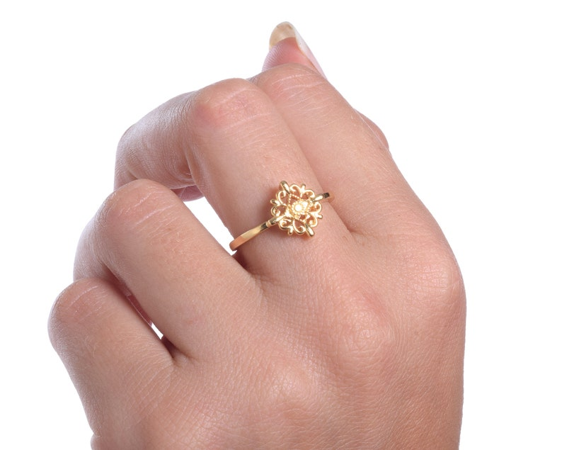 Promise Gold Ring  Vintage Style Ring  Bohemian Ring  Dainty Ethnic Gold Ring  Gold Lace Ring