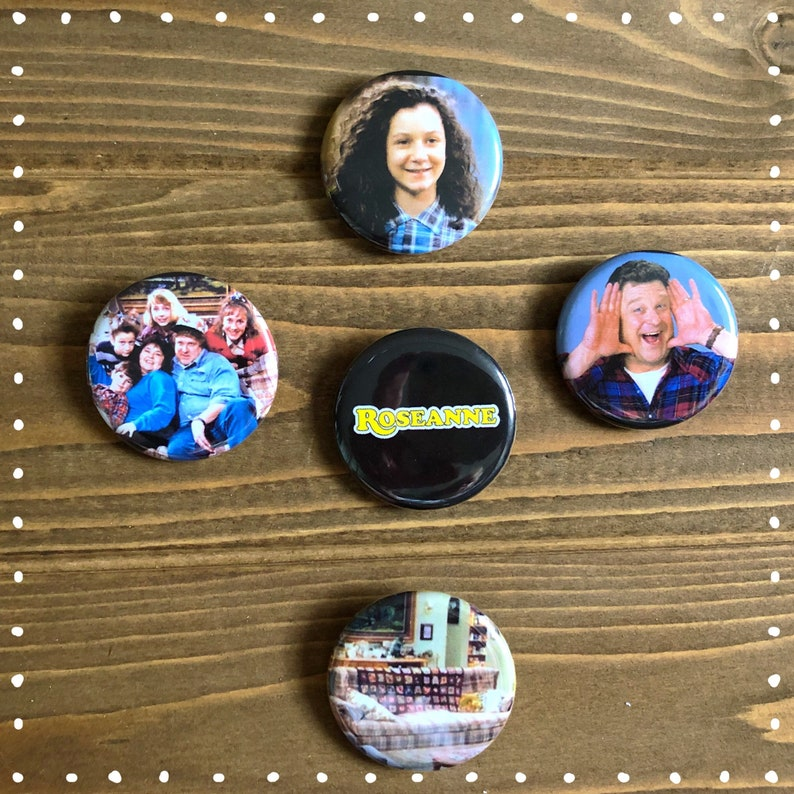 26f0ab7b61 Roseanne Classic TV Show pinback buttons 1.25 inch flair pins