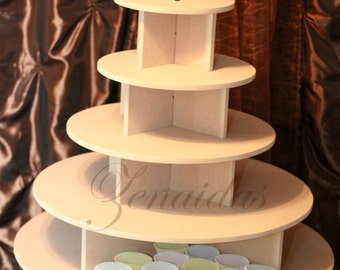 Cupcake Stand Large Round 150 Cupcakes Threaded Rod and Freestanding Style MDF Wood Unpainted Cupcake Tower Display Stand Birthday Wedding