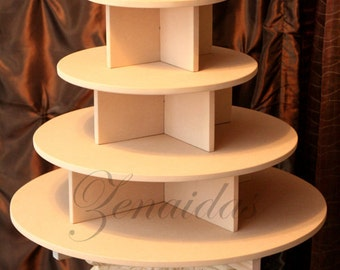 Cupcake Stand 4 Tier Round 65 Cupcakes Threaded Rod And Freestanding Style  MDF Wood Cupcake Tower Display Wedding Stand DIY Project