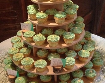 Cupcake Stand 5 Tier 150 Cupcakes Threaded Rod and Freestanding Style MDF Wood Unpainted DIY Project Birthday Stand Wedding Stand