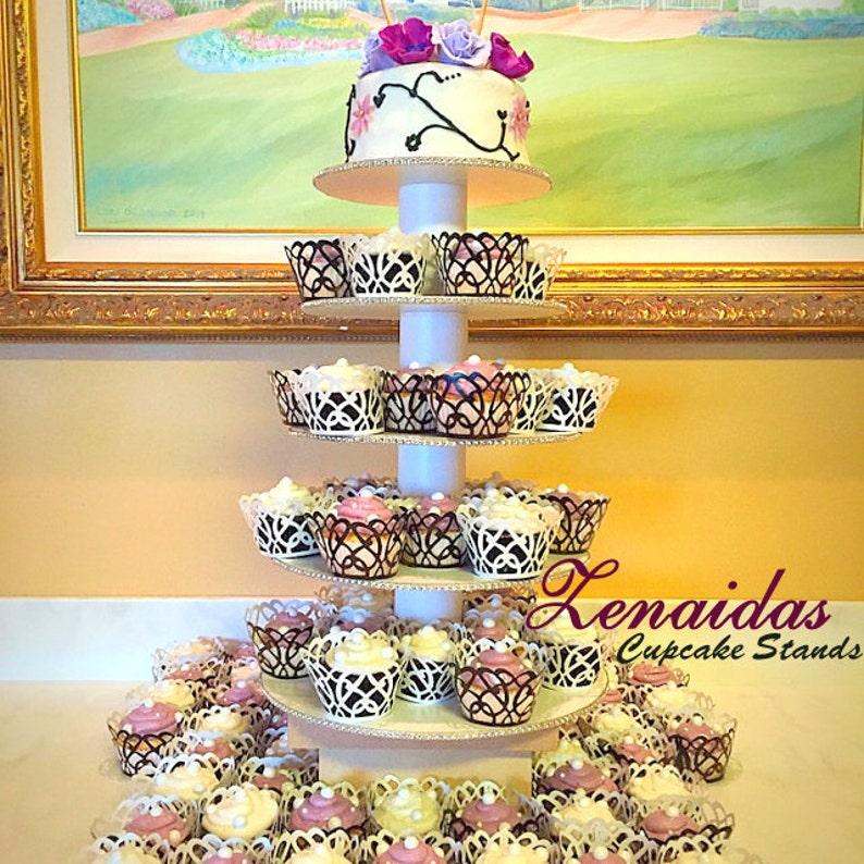 White Melamine Cupcake Stand 5 Tier Round Birthday Stand image 0