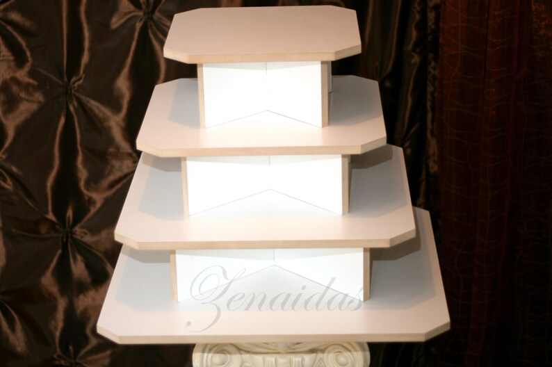 Cupcake Stand 4 Tier Square White Melamine 65 Cupcake Tower image 0