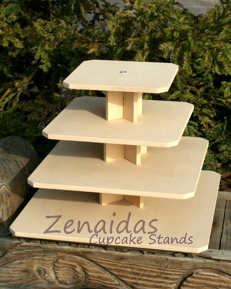 Cupcake Stand Square 4 Tier with Threaded Rod MDF Wood DIY image 0