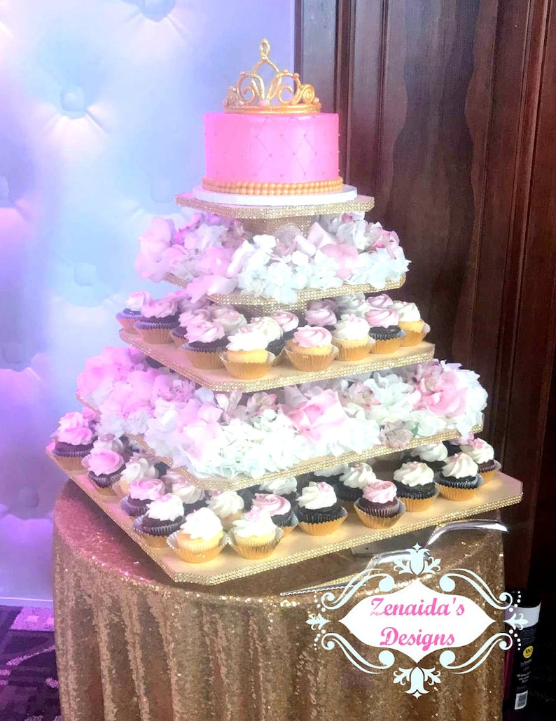 Cupcake Stand 5 Tier Xtra Large Square MDF Wood 160 Cupcakes image 0