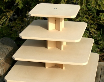 Cupcake Stand Square 4 Tier with Threaded Rod MDF Wood DIY Project Cupcake Tower Birthday Stand Wedding Stand Display Stand