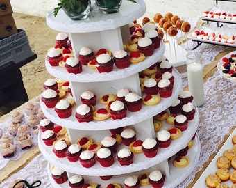 Cupcake Stand 5 Tier Round MDF Wood Unpainted 100 Cupcake Threaded Rod and Freestanding Style Wedding Birthday Donut Stand DIY Project