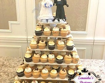 Cupcake Stand 5 Tier Xtra Large Square MDF Wood Threaded Rod and Freestanding Style 160 Cupcakes Unfinished DIY Project Wedding Stand
