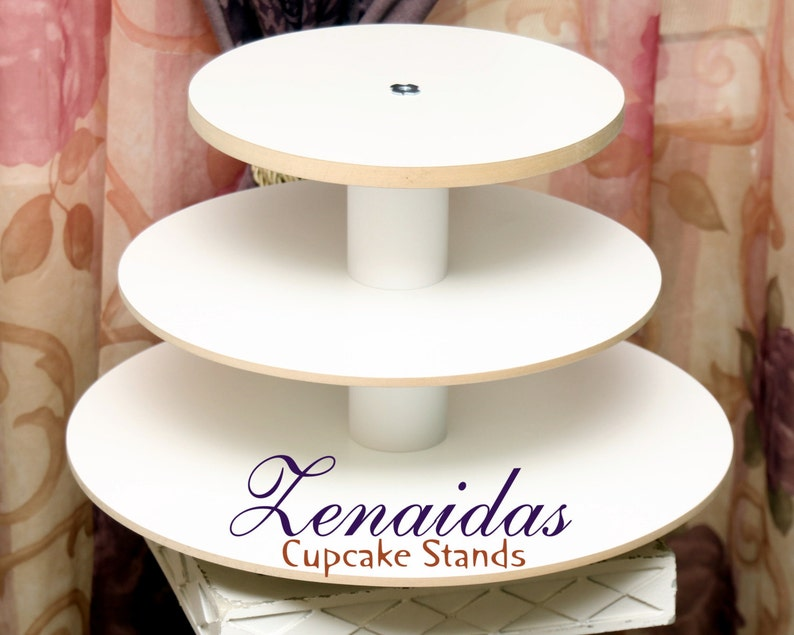 White Melamine Cupcake Stand Cupcakes 3 Tier Round Cupcake image 0