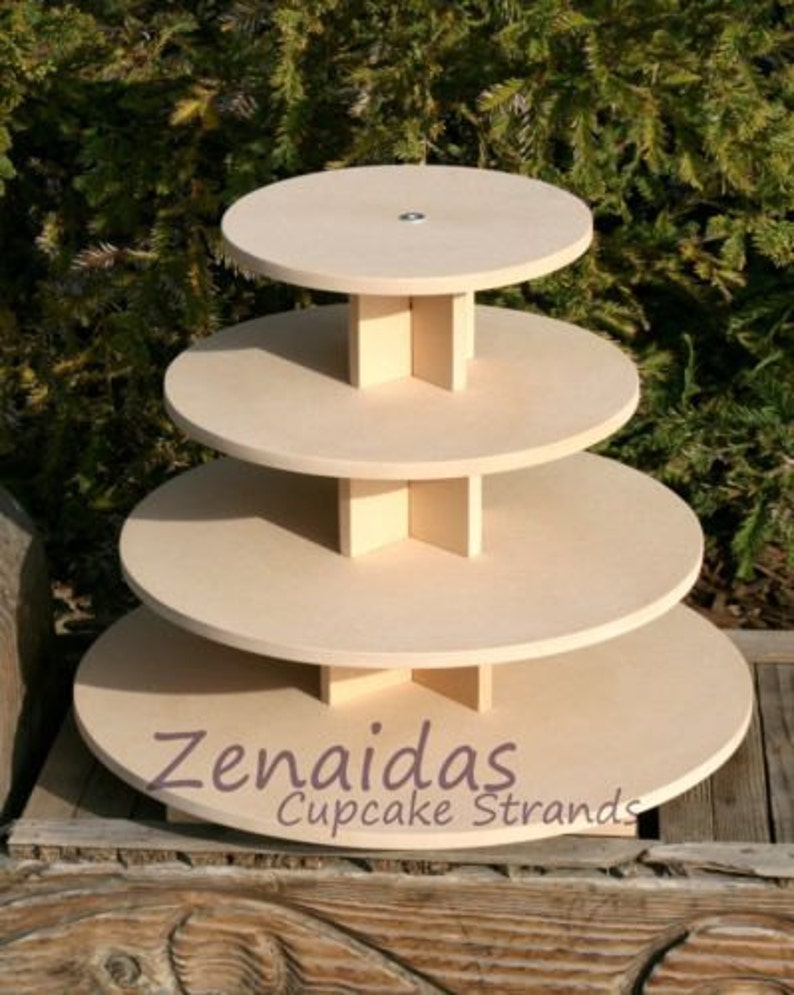 Cupcake Stand Round 4 Tier with Threaded Rod MDF Wood DIY image 0