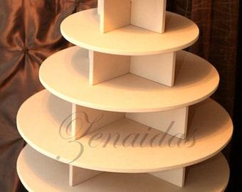 Cupcake Stand 5 Tier Round MDF Wood Unpainted DIY 100 Cupcake Tower Wedding Birthday Donut
