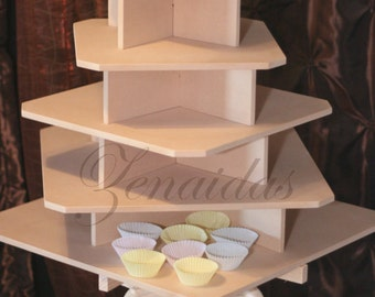Cupcake Stand  5 Tier Large Square MDF Wood Threaded Rod and Freestanding Style Cupcake Tower 160 Cupcakes Wedding Stand DIY Project