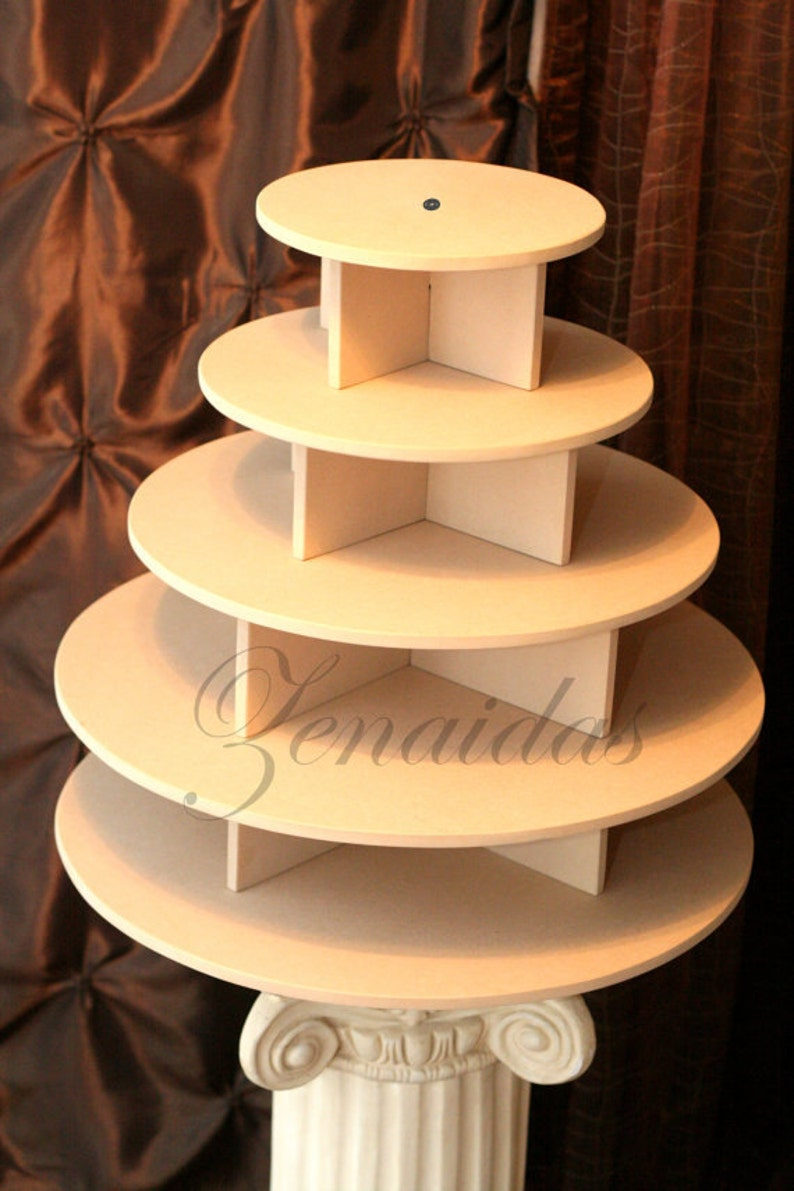 Cupcake Stand 5 Tier Round MDF Wood Threaded Rod and image 0