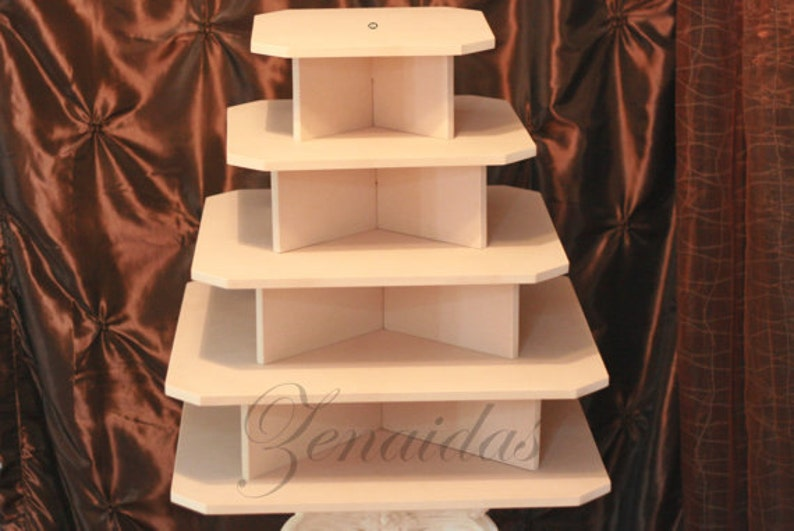 Cupcake Stand 5 Tier Square MDF Wood 100 Cupcake Tower Display image 0