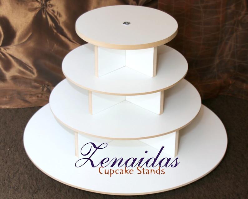 White Melamine Cupcake Stand 65 Cupcakes 4 Tier Round Cupcake image 0