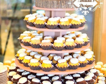 Cupcake Stand Round 5 Tier with Threaded Rod MDF Wood DIY Project Cupcake Tower Birthday Stand Wedding Stand Display Stand