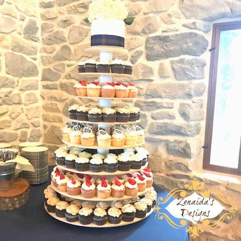 Cupcake Stand 8 Tier White Melamine Threaded Rod Style Cupcake image 0