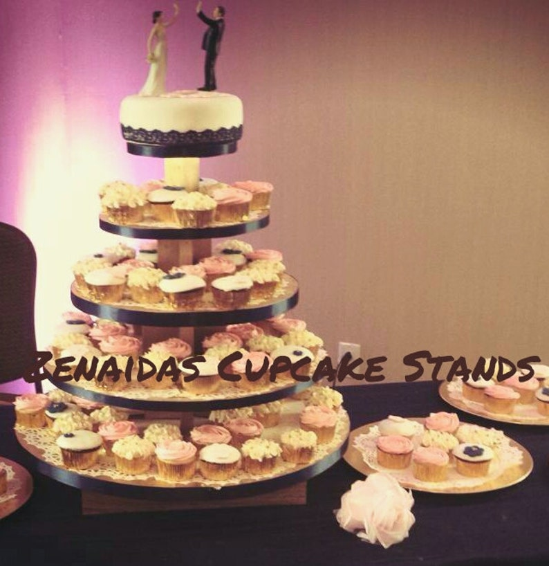 Cupcake Stand Round 5 Tier with Threaded Rod MDF Wood DIY image 0