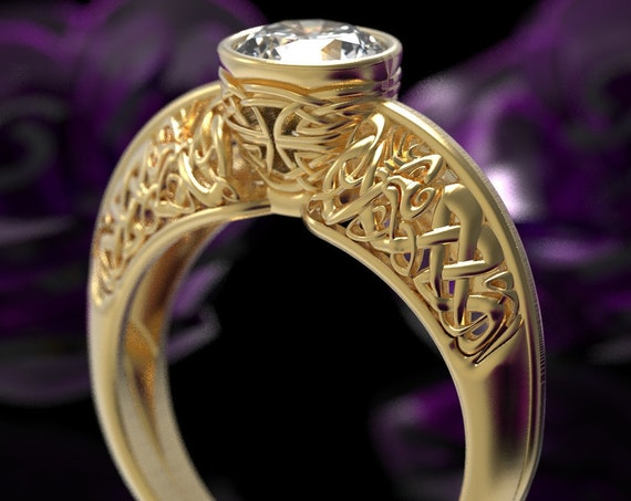 Gold Celtic Dragon Solitaire 1 Carat Moissanite Ring, Womens Engagement Ring, 10K 14K 18K Gold or Platinum Dragon Jewelry, Custom Size 6007