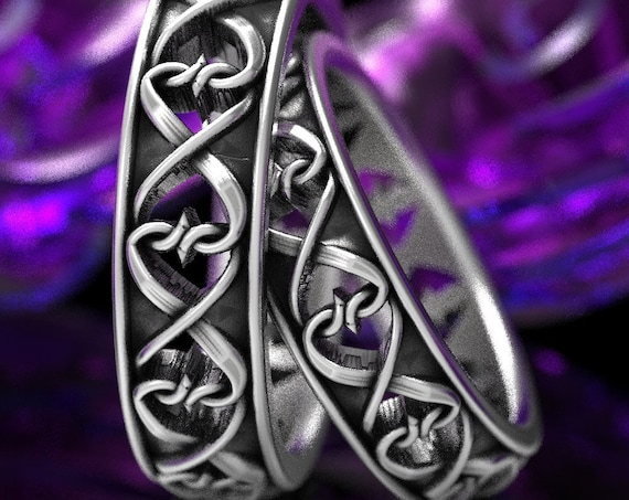 Intertwined Hearts Pattern Set of Two Rings, Celtic Heart Wedding Rings, Unique Heart Symbol Ring in Sterling Silver, Custom Size CR-1272