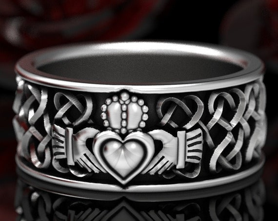 RESERVED FOR Lisa Celtic Wedding Ring With Celtic Heart and Claddagh Interlaced Knotwork Design in 10K White Gold Custom Size CR-645