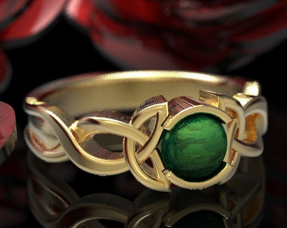 Celtic Jade Engagement Ring With Trinity Knot Design in 10K 14K 18K Gold, Palladium or Platinum Made in Your Size CR-405b