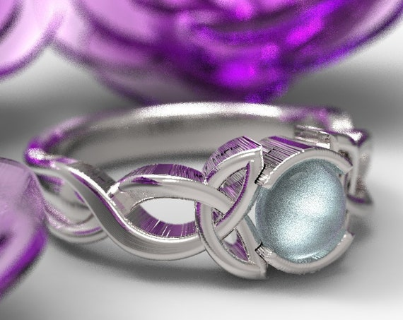 Celtic Blue Moonstone Ring With Trinity Knot Design in Sterling Silver, Made in Your Size CR-405b