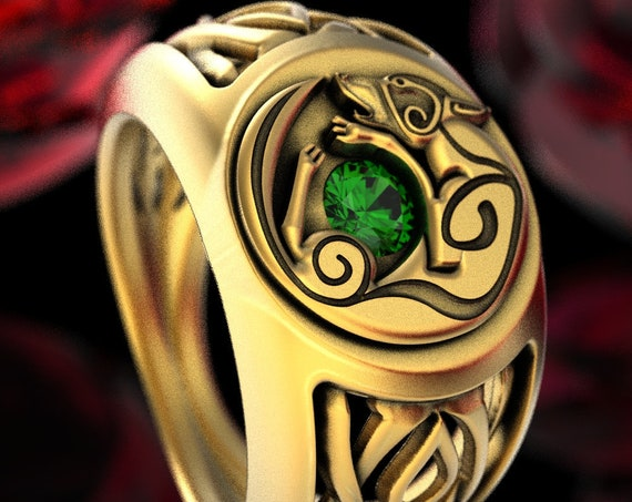 Wolf Infinity Signet Ring with Emerald in 10K 14K 18K Gold or Platinum, Unique Celtic Wedding Band for Him, Handmade in Your Size, CR1354