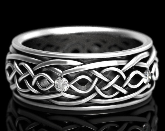 RESERVED FOR Karen, Custom Width Celtic Wedding Ring With Infinity Symbol Pattern and Moissanite Stones in Sterling Silver CR-1049