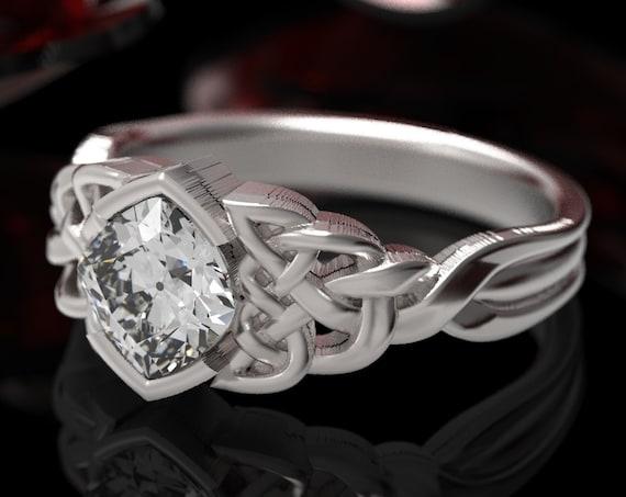 Celtic Moissanite Engagement Ring, Diamond Cushion Cut Ring, Sterling Silver Diamond Engagement Ring, Unique Engagement Ring, 1311sz