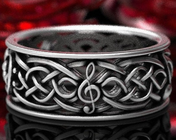 Musical Celtic Wedding Ring Infinity Symbol Pattern in Sterling Silver, Mens Music Notes Ring, Musical Wedding Ring, Made in Your Size 1208