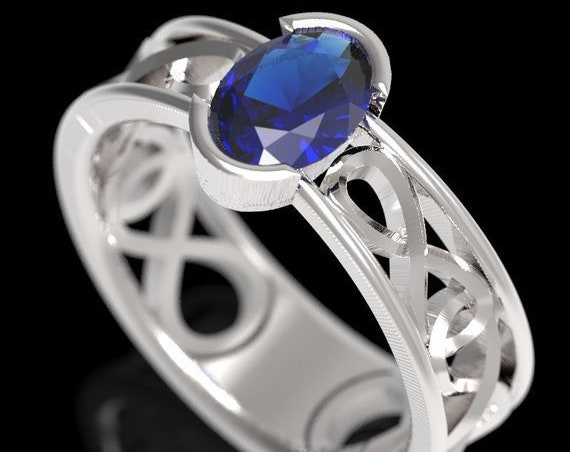 Celtic Wedding Ring with Blue Sapphire Stone and Infinity Knot in Sterling, 10K 14K 18K Gold, Palladium or Platinum Made in Your Size CR-13d